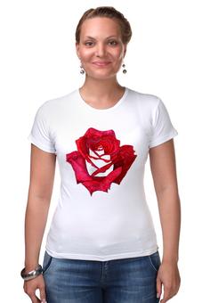 "Футболка Стрэйч ""Красная роза"" - цветы, роза, красный"