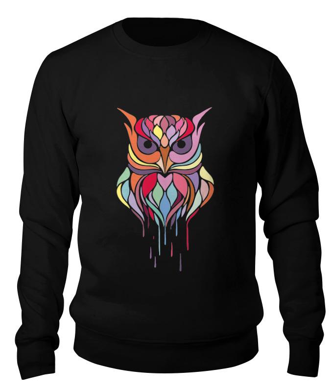Фото - Свитшот унисекс хлопковый Printio Цветная сова фигурка сова разноцветная с сердечком керамика 7 6см