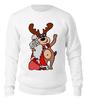 """Свитшот унисекс хлопковый """"Дед мороз с оленем"""" - праздник, арт, новый год, дед мороз, олень"""