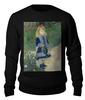 """Свитшот унисекс хлопковый """"Девочка с лейкой (Пьер Огюст Ренуар)"""" - картина, импрессионизм, природа, живопись, ренуар"""