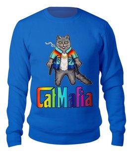 "Свитшот унисекс хлопковый ""CatMafia"" - кот, мафия, кот бегемот, с сигаретой, с пистолетами"