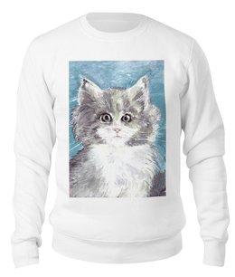 """Свитшот унисекс хлопковый """"Взгляд кошки"""" - кот, кошка, взгляд, подарок, зверь"""