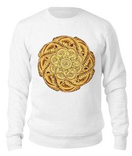 """Свитшот унисекс хлопковый """"Золотой цветок мандала"""" - цветы, рисунок, орнамент, мандала, мехенди"""