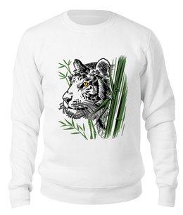 """Свитшот унисекс хлопковый """"Тайная угроза"""" - хищник, животные, рисунок, тигр, бамбук"""
