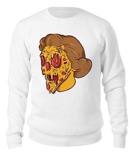 "Свитшот унисекс хлопковый ""PIZZA FACE"" - face, pizza"
