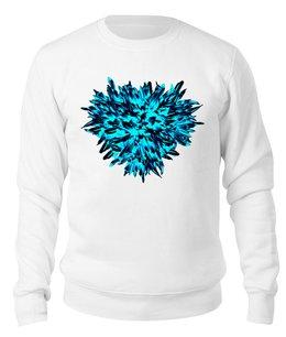 """Свитшот унисекс хлопковый """"Ледяной синий """" - сердце, цветы, букет, хризантемы, синие цветы"""