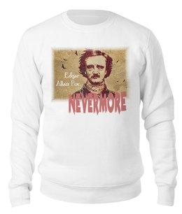 "Свитшот унисекс хлопковый ""Эдгар По, «Ворон» (Nevermore)"" - ретро, английский, ворон, nevermore, эдгар аллан по"