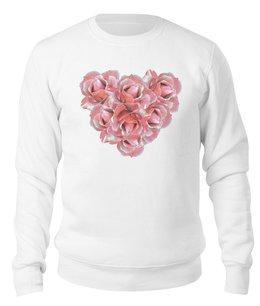 """Свитшот унисекс хлопковый """"Розовые розы """" - сердце, розы, букет, розовые цветы, нежные цветы"""