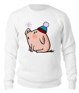 """Свитшот унисекс хлопковый """"Новогодняя свинка"""" - новый год, new year, свинка, свинья, 2019"""