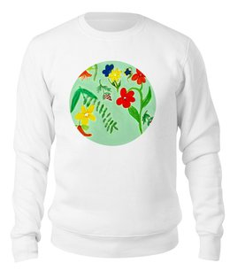 """Свитшот унисекс хлопковый """"Свитшот Летние цветы"""" - лето, цветы, природа"""