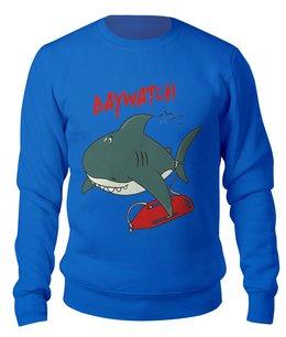 "Свитшот унисекс хлопковый ""Акула( Baywatch)"" - акула, спасатели малибу, shark"