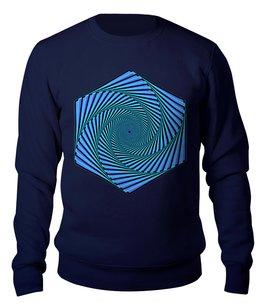 """Свитшот унисекс хлопковый """"Орнамент Оптическая иллюзия"""" - праздник, абстракция, геометрия, иллюзия"""