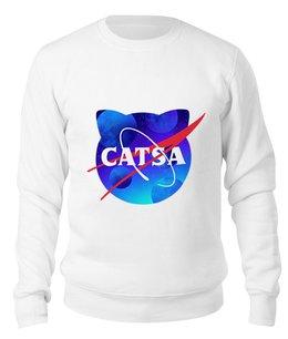 "Свитшот унисекс хлопковый ""catsa"" - cat, космос, nasa, наса, catsa"