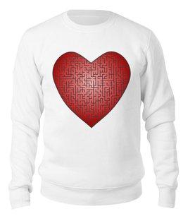 """Свитшот унисекс хлопковый """"К сердцу через лабиринт"""" - любовь, 14 февраля, орнамент, подарок, символ"""