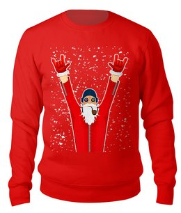 """Свитшот унисекс хлопковый """"SANTA PILOT"""" - юмор, рождество, борода, санта клаус, пилот"""
