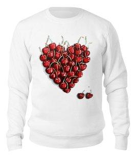 """Свитшот унисекс хлопковый """"Вишенки"""" - сердце, любовь, романтика, вишня"""