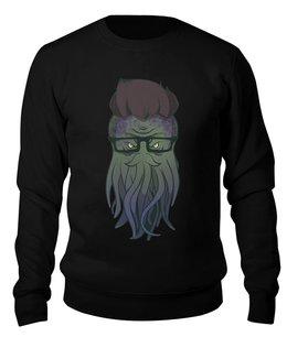 "Свитшот унисекс хлопковый ""Ктулху хипстер"" - ктулху, хипстер, очки, борода"