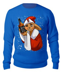 "Свитшот унисекс хлопковый ""ZAYKASANTA"" - юмор, виски, новый год, заяц, санта клаус"