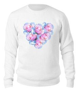 """Свитшот унисекс хлопковый """"Нежное сердце """" - сердце, цветы, розы, букет, розовые цветы"""