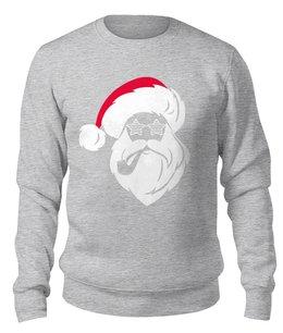 """Свитшот унисекс хлопковый """"Дед Мороз с трубкой"""" - новый год, рождество, дед мороз, санта клаус, santa claus"""