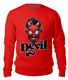 "Свитшот унисекс хлопковый ""Devil Mask"" - юмор, дьявол, мужчине, мистика, хеллоуин"