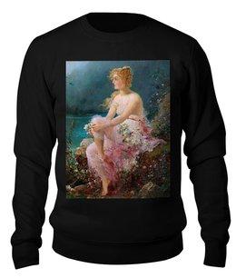 """Свитшот унисекс хлопковый """"Водяные лилии (картина Ханса Зацка)"""" - цветы, картина, живопись, зацка"""