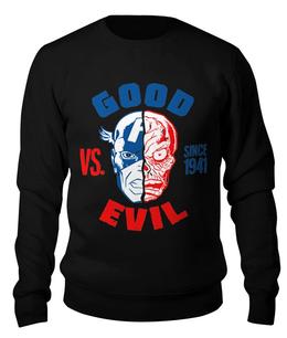 "Свитшот унисекс хлопковый ""Капитан Америка vs. Красный Череп"" - капитан америка, красный череп, череп"