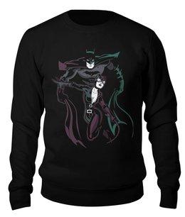 "Свитшот унисекс хлопковый ""Бэтмен и Женщина - кошка"" - batman, бэтмен, catwoman, женщина- кошка"