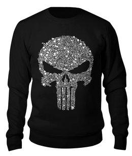 """Свитшот унисекс хлопковый """"The Punisher """" - череп, скелет, мужчине, каратель, фрэнк касл"""