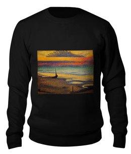 """Свитшот унисекс хлопковый """"Пляж в Хейсте (Жорж Леммен)"""" - картина, пейзаж, живопись, жорж леммен, неоимпрессионизм"""