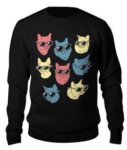 """Свитшот унисекс хлопковый """"Коты """" - кошки, коты, котята, котики, коты в очках"""