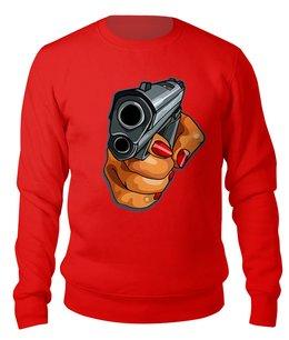 """Свитшот унисекс хлопковый """"Hand & Gun"""" - жене, женщине, криминал, с пистолетом, киноманам"""