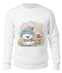 """Свитшот унисекс хлопковый """"Медвежонок"""" - юмор, зима, рисунок, мультяшка, медвежонок"""