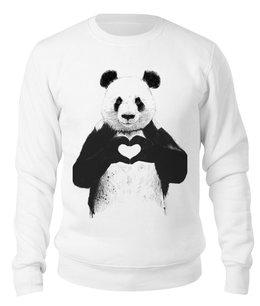 """Свитшот унисекс хлопковый """"панда"""" - панда с сердцем, сердце"""