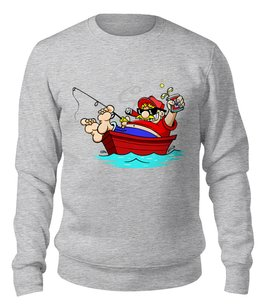 """Свитшот унисекс хлопковый """"Рыбалка     """" - прикол, юмор, хобби, рыбак, большая рыба"""