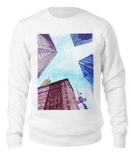 """Свитшот унисекс хлопковый """"Небоскребы II"""" - город, нью йорк, небоскребы, улица, небо"""