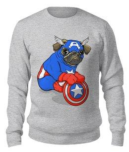 """Свитшот унисекс хлопковый """"Captain Pug"""" - собака, мопс, любителям комиксов, собачникам"""
