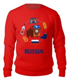 """Свитшот унисекс хлопковый """"Россия (Russia)"""" - рф, россия, медведь, russia, ушанка"""