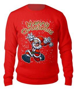 """Свитшот унисекс хлопковый """"Merry Christmas (Santa)"""" - новый год, рождество, дед мороз, санта клаус, безумный"""
