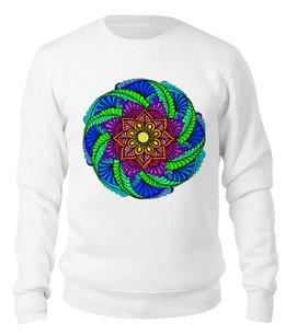 """Свитшот унисекс хлопковый """"Яркий цветок в этническом стиле"""" - цветы, этно, мандала, индийский, мехенди"""