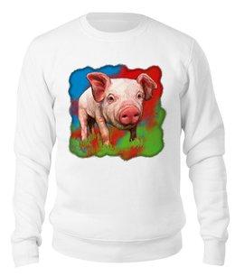 """Свитшот унисекс хлопковый """"Симпатичный свин"""" - свинка, свинья, хрюшка, поросёнок, хряк"""