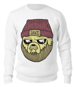 "Свитшот унисекс хлопковый ""Джейк"" - время приключений, джейк, adventure time, jake"
