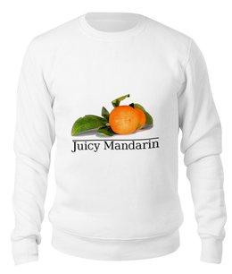 "Свитшот унисекс хлопковый ""Фрукты"" - фрукты, зеленый, мандарин, сок, оранж"