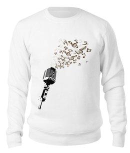 "Свитшот унисекс хлопковый ""Retro Music"" - музыка, ретро, микрофон"