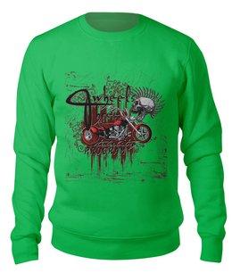 """Свитшот унисекс хлопковый """"Мотоцикл"""" - череп, абстракция"""