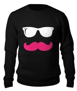 """Свитшот унисекс хлопковый """"Хипстер"""" - очки, хипстер, усы, очки и усы"""