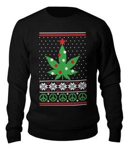 """Свитшот унисекс хлопковый """"Happy Christmas Weed"""" - подарок, трава, подарок для мужчины, подарок другу, новый год 2018"""