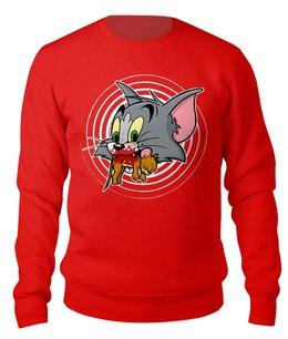 """Свитшот унисекс хлопковый """"Tom NOT Jerry"""" - том и джерри, мульт, пародия, черный юмор, коты"""