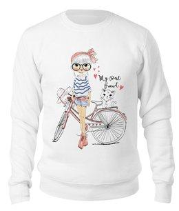 "Свитшот унисекс хлопковый ""Девушка и котёнок"" - девушка, велосипед, котёнок, друг"