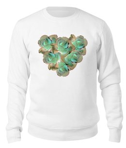"""Свитшот унисекс хлопковый """"Холодное сердце """" - сердце, цветы, розы, букет, нежные цветы"""